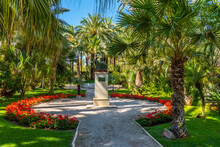 Statue Of Jaime I At Huerto Del Cura Garden In Elche, Spain