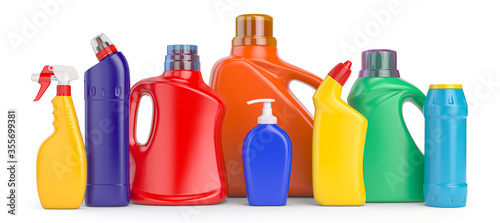 Fotografía Set of detergent plastic bottles with chemical cleaning product on white background