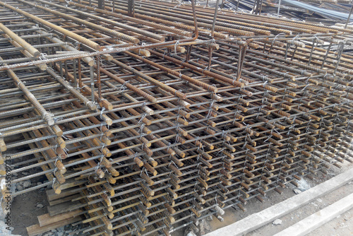 Valokuva SELANGOR, MALAYSIA -MAY 13, 2016: Hot rolled deformed steel bars or steel reinforcement bar at construction site