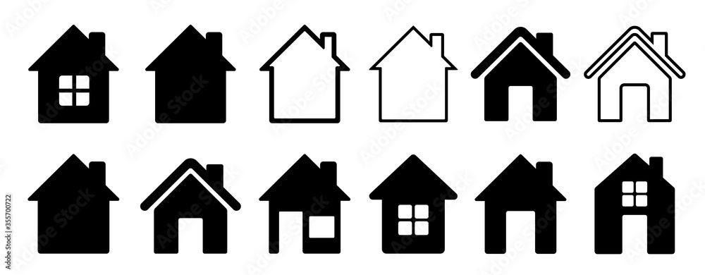 Fototapeta Home flat icon set vector illustration