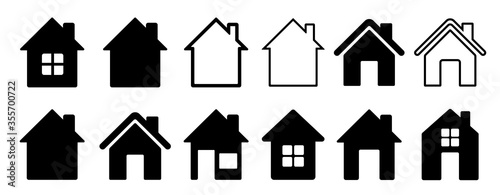Fotografía Home flat icon set vector illustration