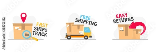 Obraz na płótnie Fast ship track free shipping and easy returns vector illustration