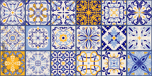 Collection of 18 ceramic tiles in turkish style Fototapeta