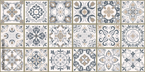 Fotografie, Tablou Collection of 18 ceramic tiles in turkish style