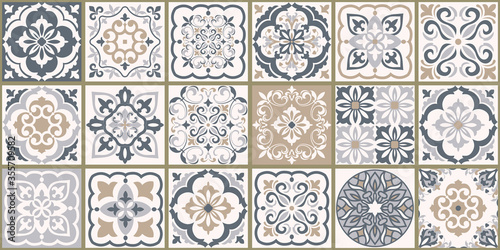 Collection of 18 ceramic tiles in turkish style Canvas Print