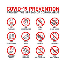 Coronavirus Covid19 Prevention Creative Illustration Banner. Word Lettering Typography Red Line Icons On White Background. Thin Line Infographic Style Quality Design For Corona Virus Covid 19 Prevent
