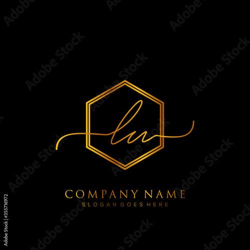 Initial letter LU Signature handwriting Logo Template Vector Fototapete