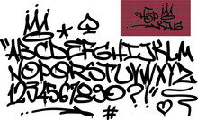 Spray Graffiti Tagging Font And Signs (crown, Heart, Star, Arrow, Dot, Quotation Mark, Number, Spade). ''Hip-hop King''  Quote On Brick Wall Background.