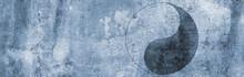 Stein Wand Symbol Yin Yang Zeichen Harmonie