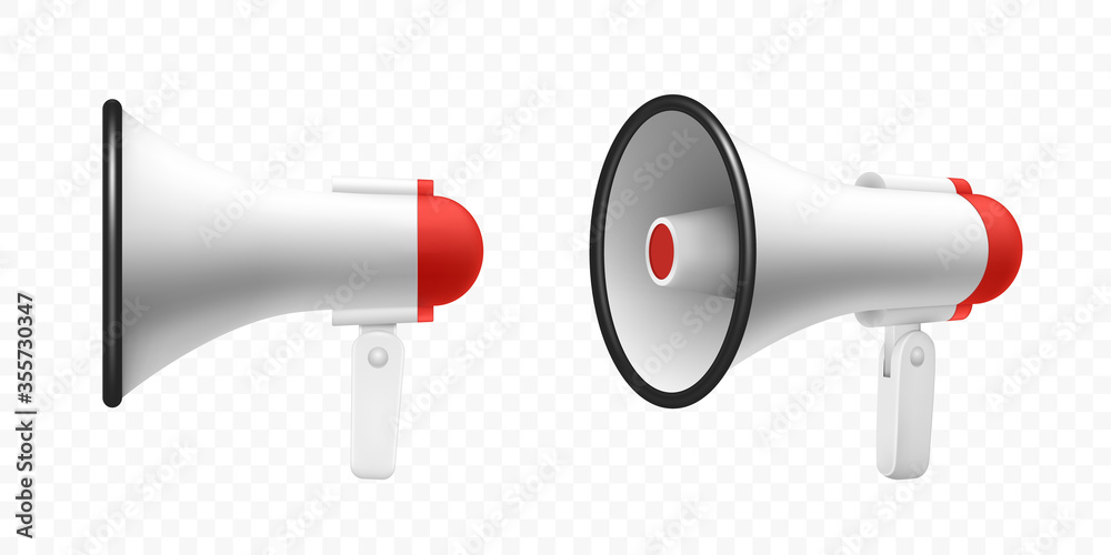 Fototapeta Megaphone speaker or loudspeaker bullhorn, vector realistic 3d mockup. Modern isolated megaphone loudhailer with microphone, red sound horn and handle, lifeguard alert and announcement speakerphone