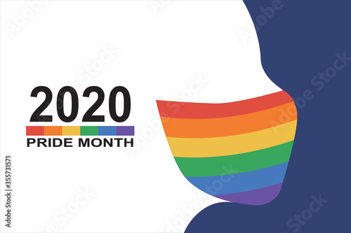 Cuadros en Lienzo Human silhouette with protective face mask colored in rainbow LGBT flag color and text pride month