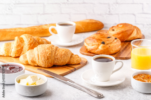 Fotografie, Obraz Breakfast with coffee and croissants