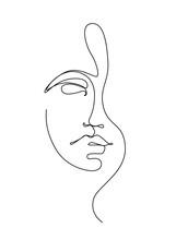 One Line Drawing Woman Face, Beauty Female Portrait