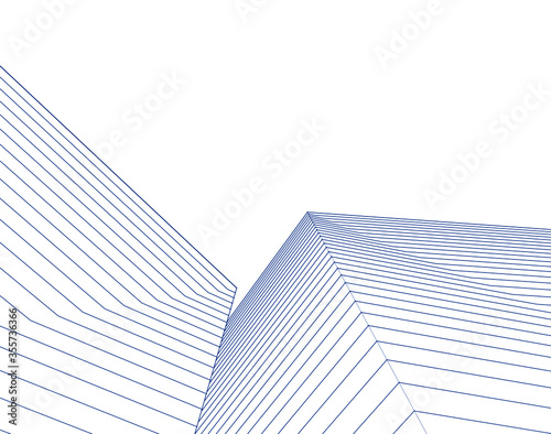 Foto abstract architecture 3d illustration sketch