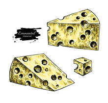 Emmental Cheese Drawing. Vector Hand Drawn Food Sketch. Triangle Slice And Cube Cut.