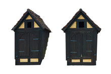 Two Attic Vintage Doors From Outside. Clip Art Set On White Background