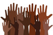 black lives matter words concept banner or poster with many black human hands, stock vector illustration