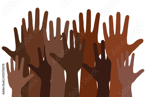 Obraz black lives matter words concept banner or poster with many black human hands, stock vector illustration - fototapety do salonu