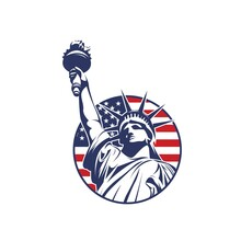 Circle Liberty Logo With Usa America Flag Vector Illustration