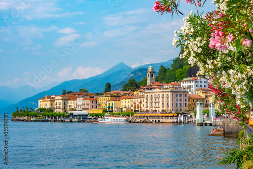 Vászonkép Lakeside view of Italian town Bellagio situated at lake Como