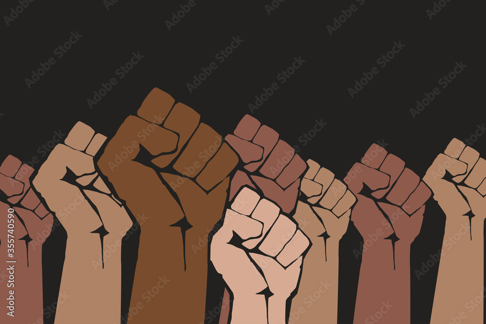 Fototapeta Stop racism. Many multi colored fist protesting on dark background. Black lives matter. Different races hands protest, interracial community unity. Modern vector in flat style. New movement