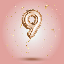 Elegant Pink Greeting Celebration Nine Years Birthday Anniversary Number 9 Foil Gold Balloon. Happy Birthday, Congratulations Poster. Golden Numbers With Sparkling Golden Confetti. Vector