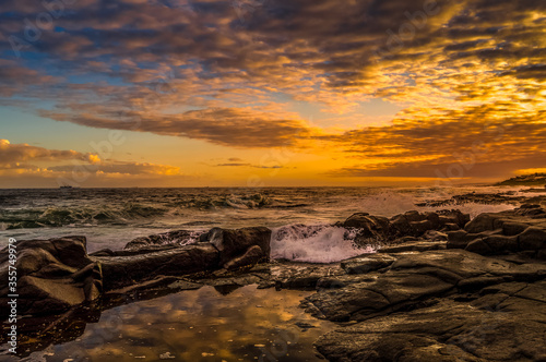 Picturesque and rocky Ballito beach in north Durban , KZN South Fototapet