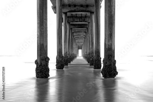 La Jolla beach, California, long exposure under the pier, black and white image Fototapet