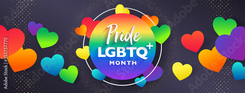 Fotografía Colorful LGBTQ PRIDE month cover page banner for festival parades, parties, and social events