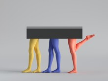 3d Render, Abstract Minimal Surreal Fashion Concept, Funny Contemporary Art Sculpture. Colorful Human Model Legs. Empty Podium, Pedestal, Table, Product Display, Platform