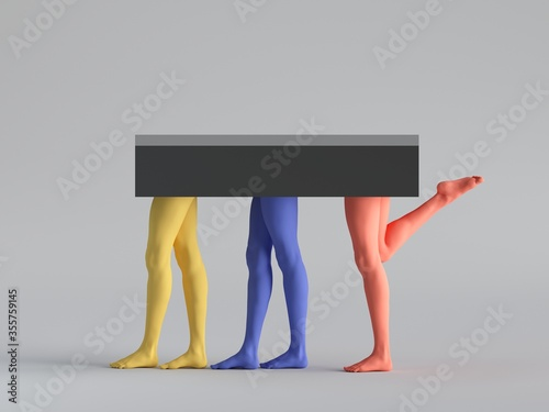 Vászonkép 3d render, abstract minimal surreal fashion concept, funny contemporary art sculpture