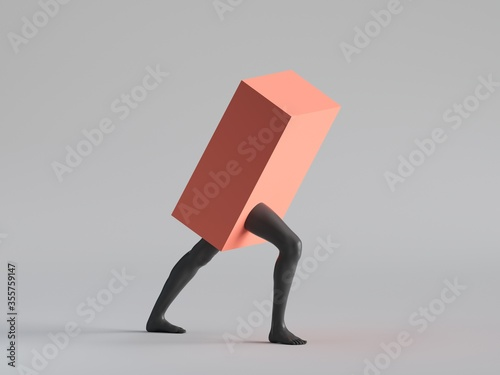 Fotografija 3d render, Red box with black human mannequin legs walk, isolated on white background