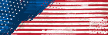 Banner With Grunge USA Background With Stars And Horizontal Lines. Decorative American Banner Suitable For Background, Headers, Posters, Cards, Website. Vector Illustration