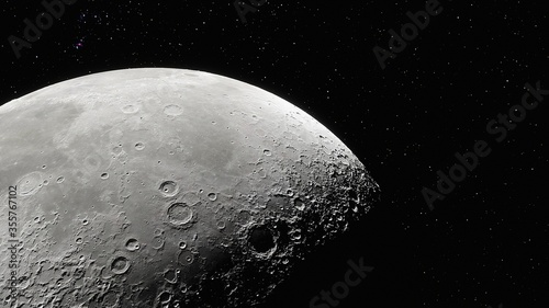 realistic moon in space, realistic moon surface, moon craters 3d render Fototapet