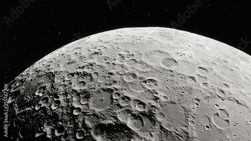 realistic moon in space, realistic moon surface, moon craters 3d render Wallpaper Mural