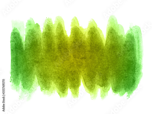 Fototapeta Green and yellow abstract watercolor background. It is a hand drawn. Green and yellow watercolor scribble texture. obraz
