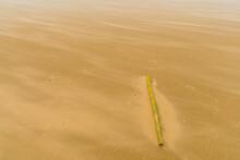Bamboo Pole On Windswept Beach