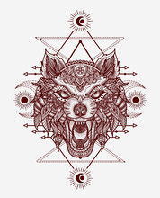 Isolated Wolf Head Mandala Tri...