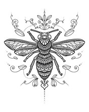 Bee Mandala Coloring Page. T-s...