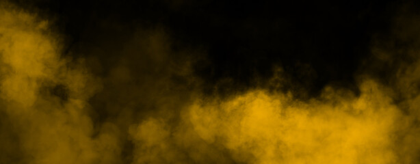 Panoramic fog mist texture overlays. Abstract yellow smoke isolated background for effect, text or copyspace .