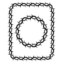 Spiked Wicker Circle Frame And Rectangle Isolated. Crown Of Thorns