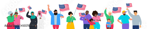 Foto happy multiracial people holding american flags happy independence day usa vecto
