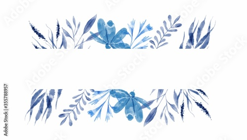 Fototapeta Flowers field bouquet blue Indigo. for invitations, the wedding card. obraz