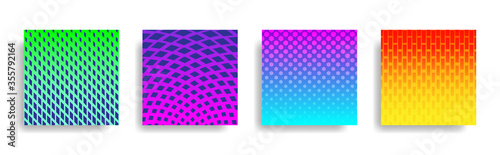 Obraz na plátně Abstract colorful halftone geometric shapes background set, graphic banner cover and advertising design layout template