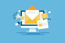 Reaching Online Audience With Email Marketing Campaign, Newsletter Subscription, Sending Marketing Message Via Email. Digital Email Marketing Strategy.