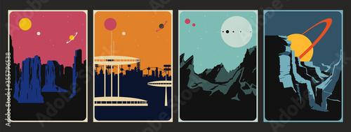 Photo Retro Future Space Poster Set, Alien Planet Landscapes, Mid Century Modern Art S