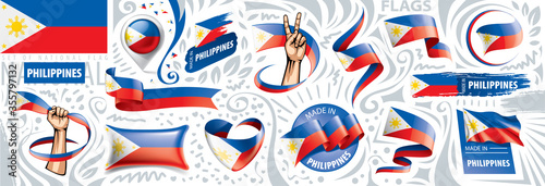 Fotografija Vector set of the national flag of Philippines in various creative designs
