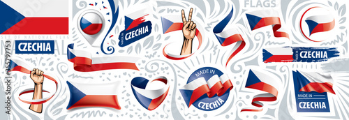 Fotomural Vector set of the national flag of Czechia in various creative designs