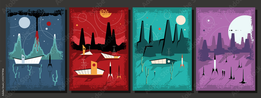 Mid Century Modern Art Retro Future Space Paintings Stylization, Alien Planet Landscapes, Futuristic Architecture, Space Rockets