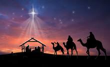 Christmas Nativity Scene Of Ba...
